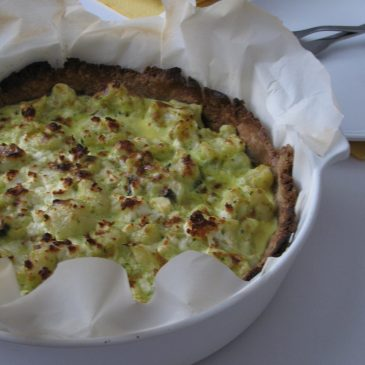 Cauliflower, Sheep Feta and Sesame Pie