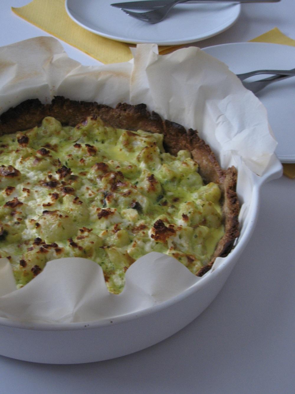 Cauliflower, Sheep Feta and Sesame Pie