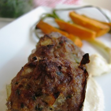 Koftas with Tahini sauce, Baked Sweet potatoes and Wild scallions