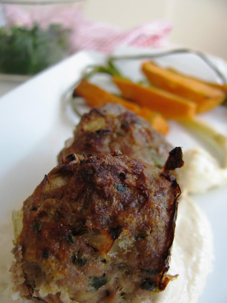Koftas with Tahini sauce, Baked Sweet potatoes and Wild scallions