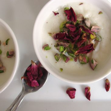 Muhallabieh – Milk pudding with Roses, Pistachios and Lemon syrup