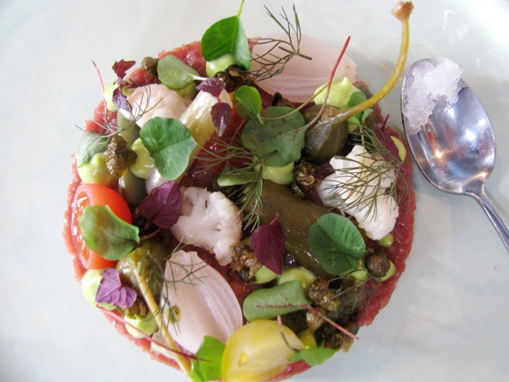 His appetizer: Tartar with pickled vegetables, cress, sweet and sour granite. One of two most beautiful plates.