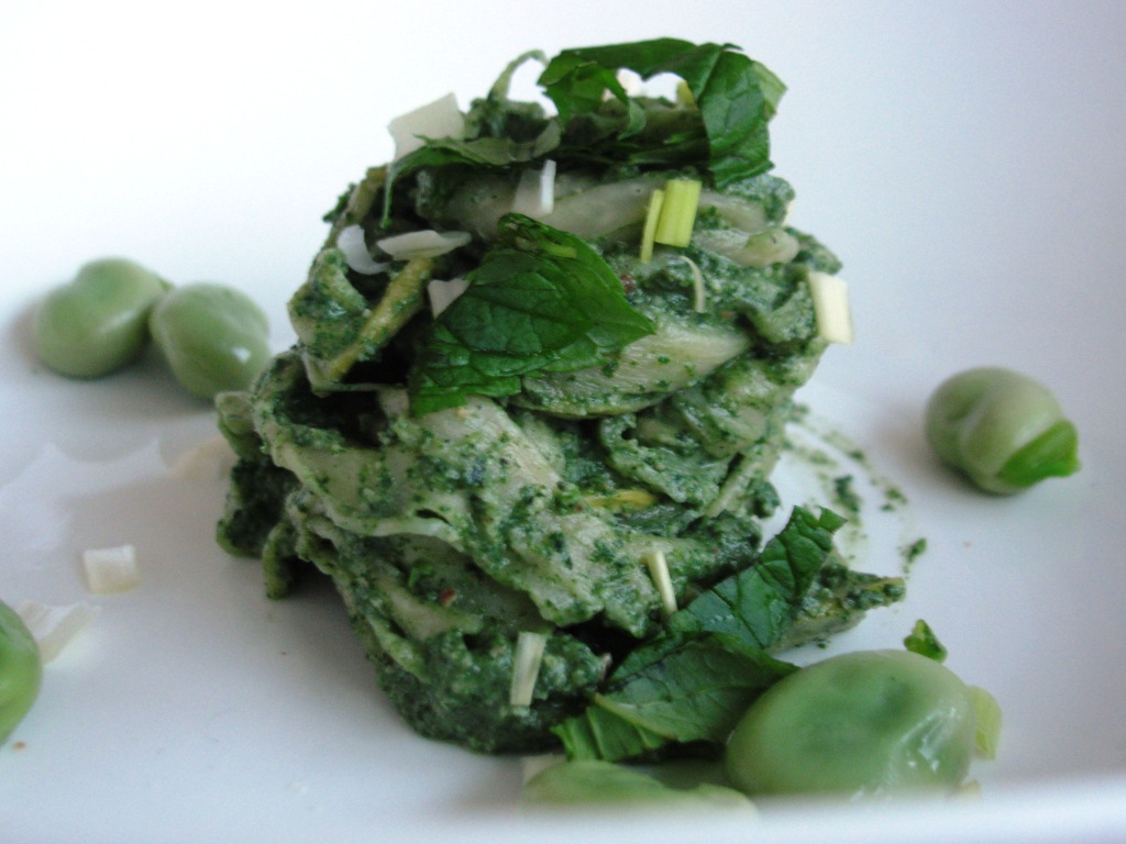 Pumpkin Noodles with Nettle pesto, Fava beans and Mint