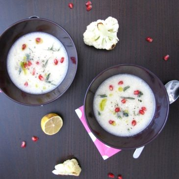 Cauliflower and Fennel Soup with Pomegranate and Black pepper