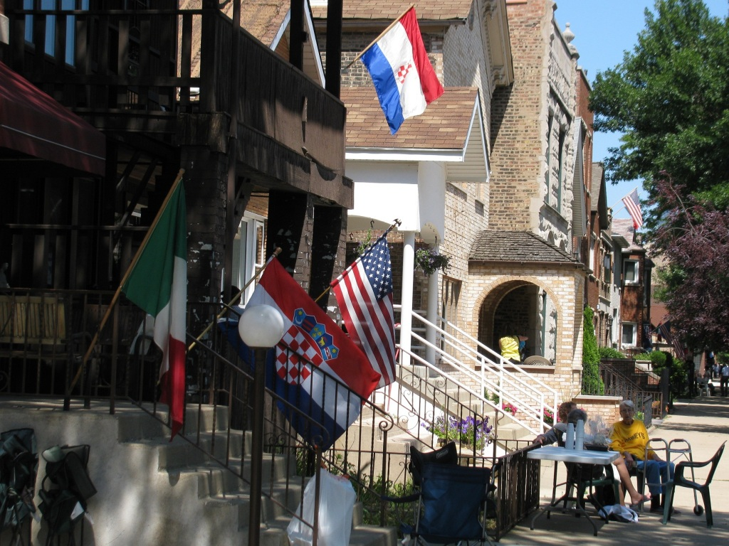 Croatian, Italian and American flags in Bridgeport