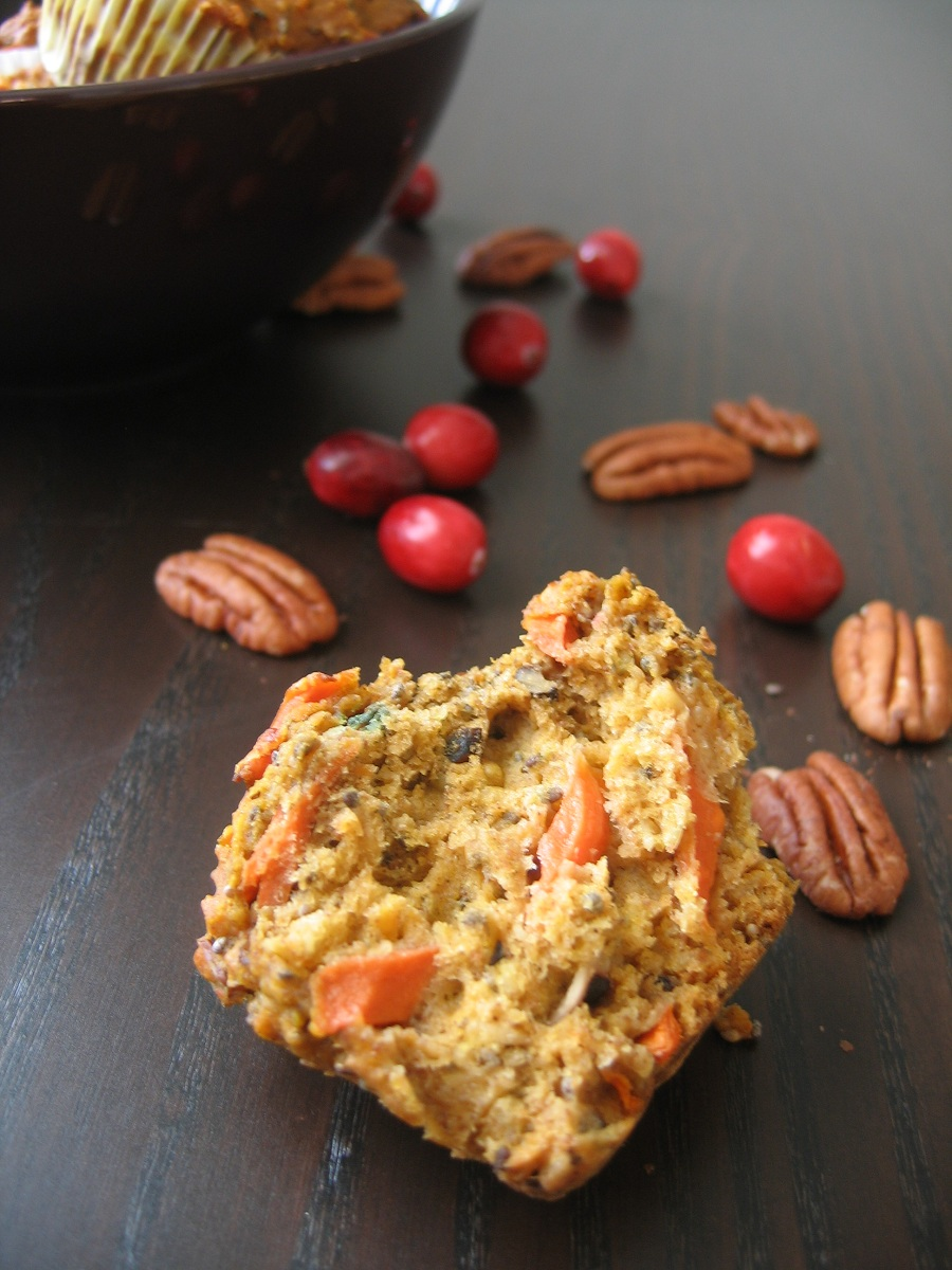 Pumpkin, Carrot and Cranberries Muffins