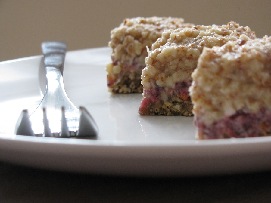 Raw Strawberry Bars with Coconut Almond Cream