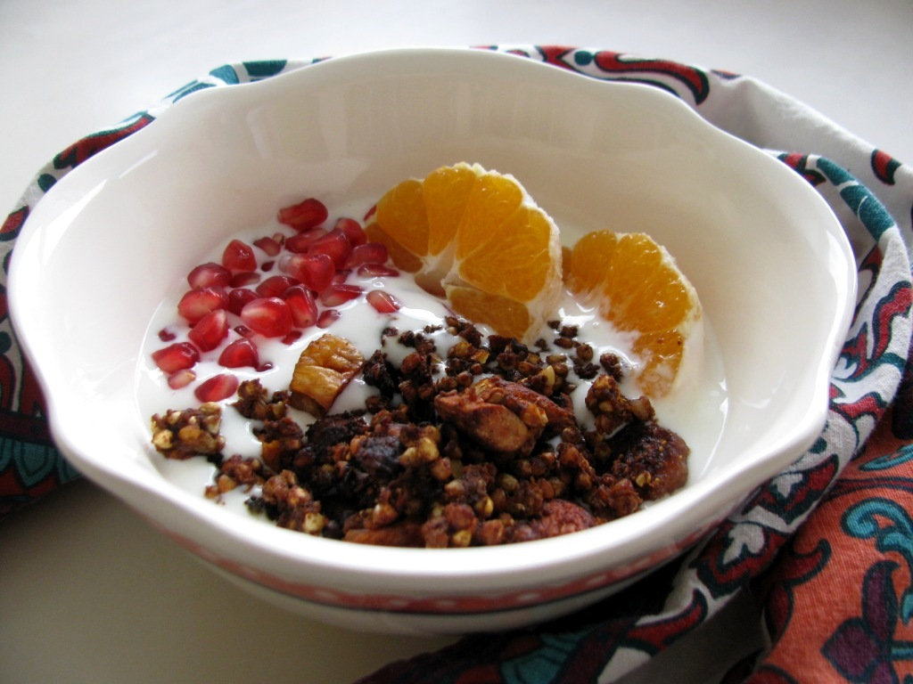 Pumpkin Granola with Carob, Almonds and Dried Figs