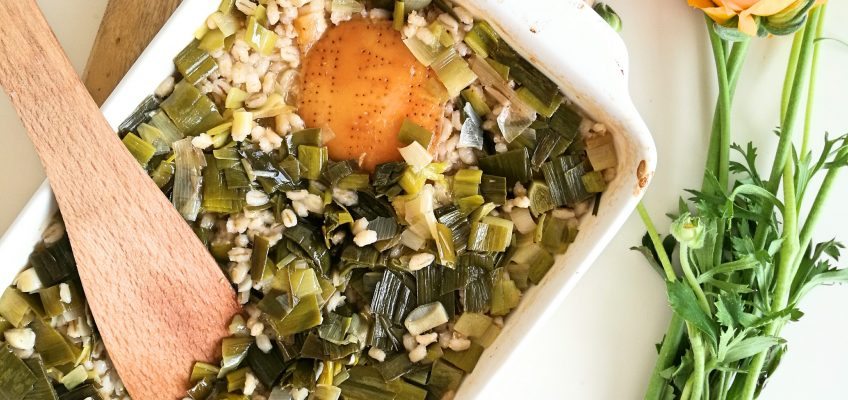 Oven-Baked Orzotto w/ Leeks and Parmesan Rinds