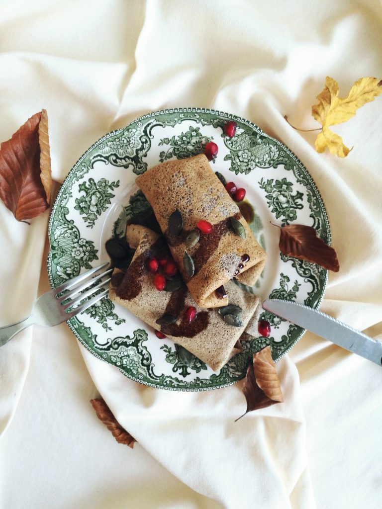 culinary postcards_buckwheat crepes with almond ricotta and pumpkin
