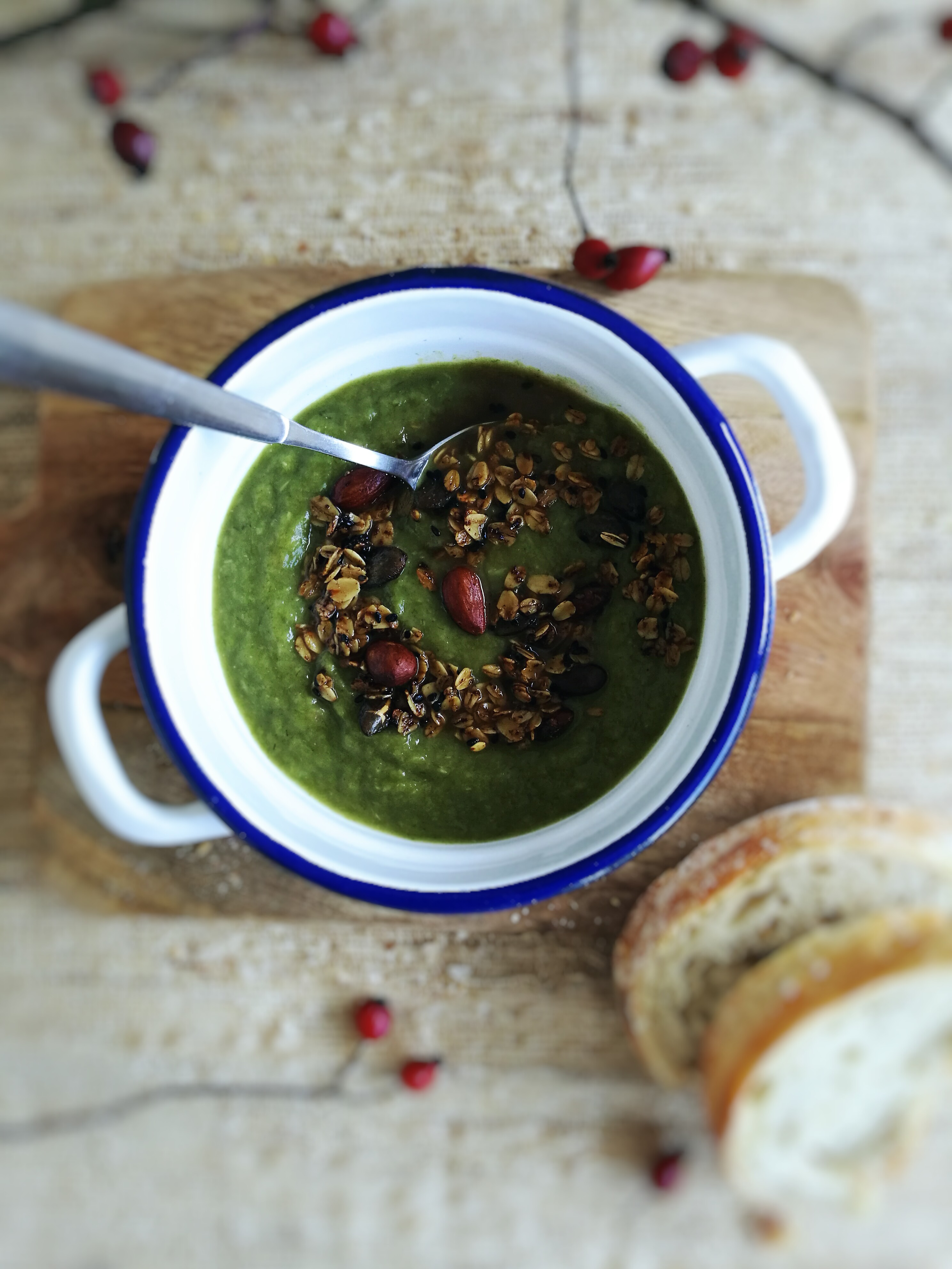 Leek soup served with spicy granola - culinary postcards