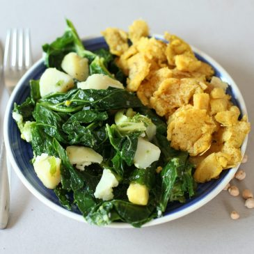 Chickpea Flour Omelet w/ Boiled Potatoes &Collard Greens (V, GF)