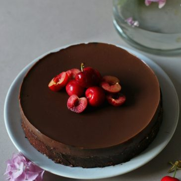 Vegan Dark Chocolate Cherry Tart {V, GF}